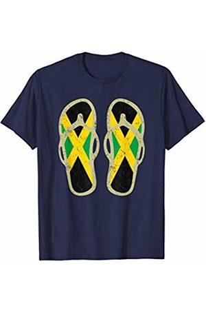 Classic Jamaica Tees Jamaica Flag Flip Flops T-Shirt | Retro Jamaican holiday tee