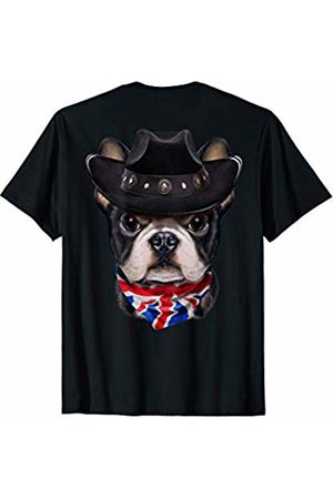 Fox Republic T-Shirts Cute French Bulldog in Cowboy Hat and Union Jack Bandana T-Shirt