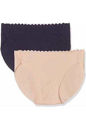 Dim Women's Slip Body Touch Coton X2 Panties, (Skin Rose/BLEU Infini 8PW)