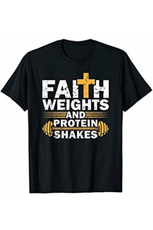 Maximum Gains T-Shirts Faith Weights And Protein Shakes Gym Fitness Workout T-Shirt