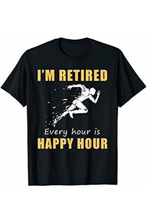 Running t shirt I'm retired running every hour is happy hour tee