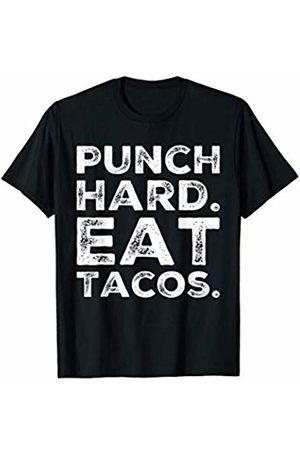 BW Boxing Tops Funny Workout Quote Punch Hard Eat Tacos Foodie Lovers T-Shirt