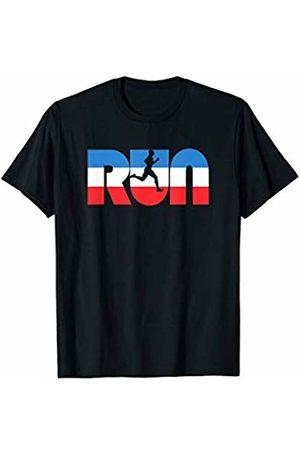 Nature Rush Outdoor Sports Threads RUN Vintage Red White & Retro Runner Graphic T-Shirt