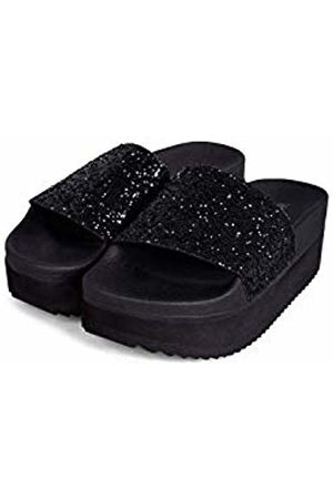 THE WHITE BRAND Women's High Glitter Platform Sandals