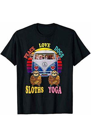 Vintage Hippie Van Spiritual Sloth Dog Lover Gifts Retro Hippie Peace Van Sloth Buddha Zen Meditation Yoga Gift T-Shirt