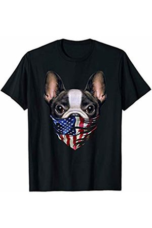Fox Republic T-Shirts Cute French Bulldog in Flag of USA Bandana T-Shirt