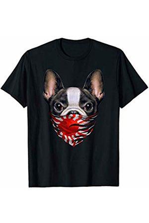 Fox Republic T-Shirts Cute French Bulldog in Japanese Rising Sun Flag Bandana T-Shirt