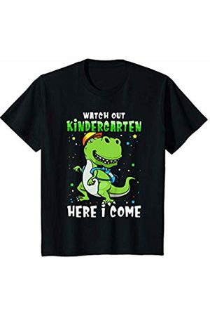 First Day of School & Back to School Gift Tshirt Youth T-rex Kids School : Watch Out Kindergarten Here I come T-Shirt