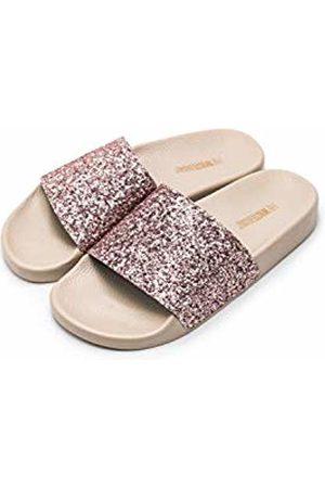 THE WHITE BRAND Women's Glitter Open Toe Sandals, Coral