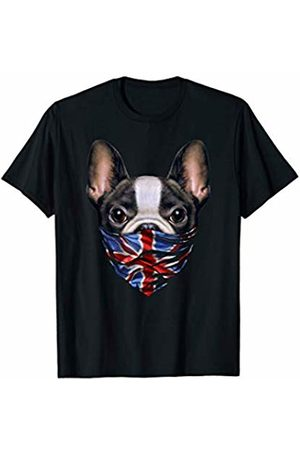 Fox Republic T-Shirts Cute French Bulldog in Flag of United Kingdom Bandana T-Shirt