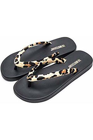 THE WHITE BRAND Women's Wild Flip Flops, Leopard