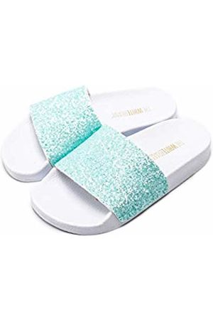 THE WHITE BRAND Unisex Kids' Glitter Matte Open Toe Sandals, Turquoise