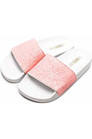 THE WHITE BRAND Unisex Kids' Glitter Matte Open Toe Sandals, Pale