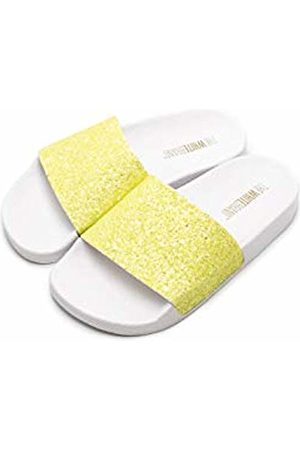 THE WHITE BRAND Unisex Kids' Glitter Matte Open Toe Sandals, Neon