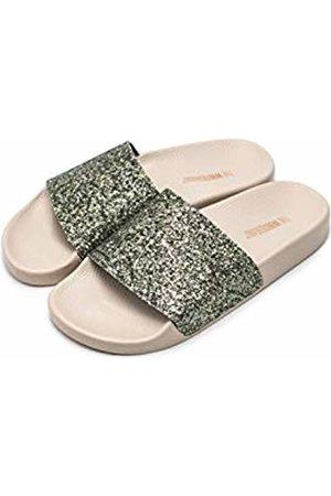 THE WHITE BRAND Women's Glitter Open Toe Sandals, Jungle