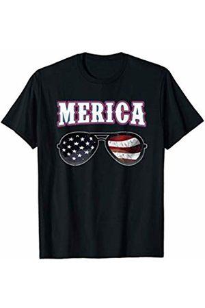 BCC Patriotic Shirts & 4th of July Gifts Merica 4th of July USA Patriotic American Flag Sunglasses T-Shirt