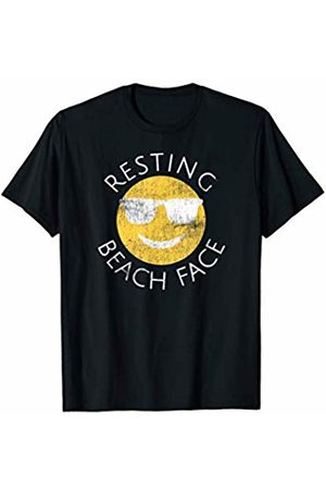 Vintage Summer Shirt Co. T-shirts - Vintage Resting Beach Face Funny Summer Happy Sunglasses T-Shirt