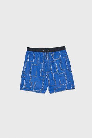 Zara Slogan swimming trunks