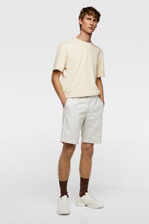 Zara Striped textured weave bermuda shorts