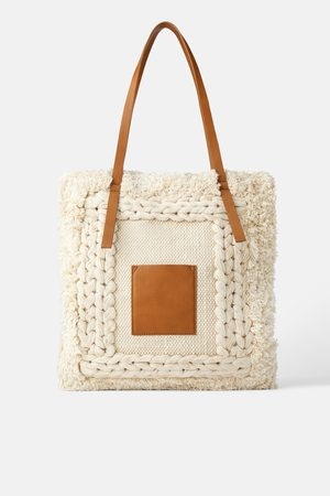 76b125e7a5 Frayed fabric tote bag