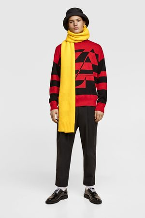 Zara Men Jumpers & Sweaters - Striped logo sweater