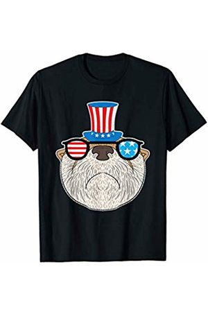 BCC Patriotic Shirts & 4th of July Gifts Patriotic Otter Uncle Sam Hat US Flag Sunglasses 4th of July T-Shirt
