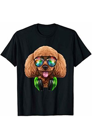 Fox Republic T-Shirts Toy Poodle Dog as DJ wearing Space Sunglass and Headphone T-Shirt
