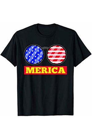 Patriotic Apparel by BUBL TEES Merica Sunglasses USA Flag Independence Day T-Shirt