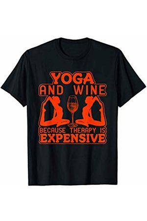 Yoga Therapy Gift Yoga And Wine Because Therapy Is Expensive Novelty T Shirt T-Shirt