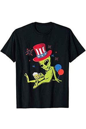 SpicySloth Aliens Alien Celebrating 4th Of July Uncle Sam Hat UFO Gift T-Shirt