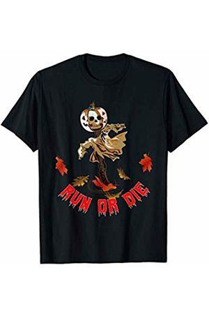 Sassyfull Halloween Runner Running Zombie Scarecrow Pumpkin Harvesting Farmers Gift T-Shirt