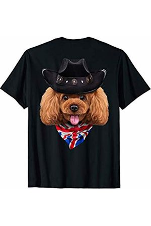 Fox Republic T-Shirts Playful Toy Poodle Dog in Cowboy Hat and Union Jack Bandana T-Shirt