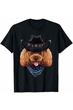 Fox Republic T-Shirts Playful Toy Poodle Dog in Cowboy Hat and Bandana T-Shirt