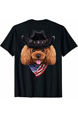 Fox Republic T-Shirts Playful Toy Poodle Dog in Cowboy Hat and Flag of USA Bandana T-Shirt