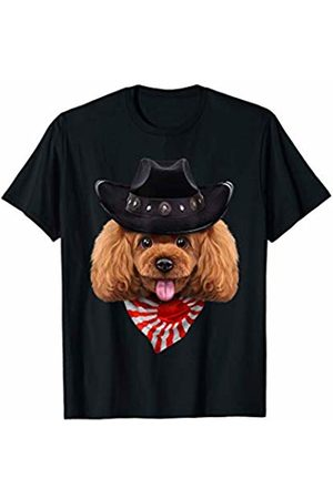 Fox Republic T-Shirts Toy Poodle Dog in Cowboy Hat and Flag of Japan Bandana T-Shirt