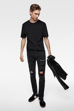 Zara Men Skinny - Skinny jeans with bandanna patches