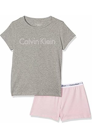 Calvin Klein Girl's Modern Cotton Knit Pj Set (s/s+Short) Pyjama Bottoms, Multicoloured (Heather W/Unique 004)