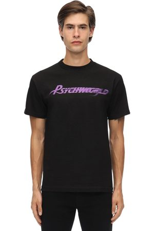 PSYCHWORLD Purple Logo Cotton Jersey T-shrit