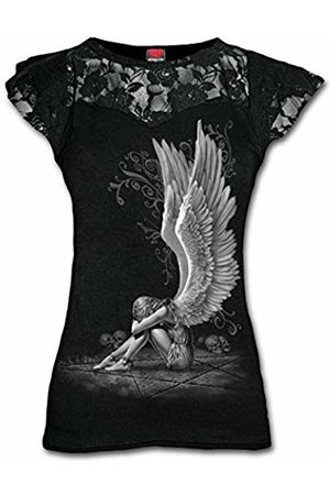 Spiral Direct Women's Enslaved Angel - Lace Layered Cap Sleeve Top T - Shirt, 001
