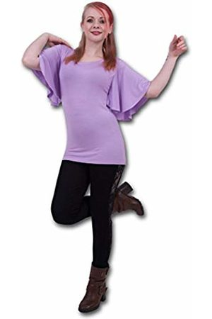 Spiral Direct Women's Gothic Elegance-Boat Neck Bat Sleeve Top Purple T-Shirt, ( 001)