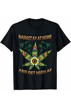 BCC Weed Smoking Shirts Marijuana Stoner Gifts Namast'ay At Home And Get High AF Weed Smoking Hippie Yoga T-Shirt