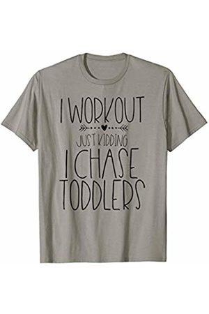 MommaThreads Studio I Workout Just Kidding I Chase Toddlers Funny Mom Everyday T-Shirt