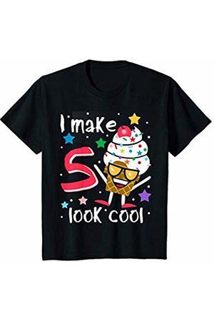 Swanky Bazaar Birthday Shirts Youth I Make 5 Look Cool Sunglasses Ice Cream Cone Birthday Party T-Shirt
