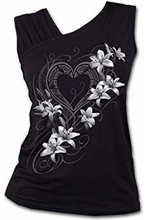 Spiral Direct Women's Pure of Heart-Gathered Shoulder Slant Vest Top, 001