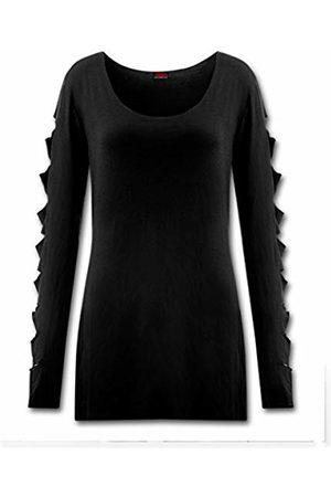 Spiral Direct Women's Metal Streetwear - Slashed Sleeve Boatneck Top Long ( 001)