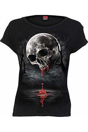 Spiral Direct Women's Death Moon - Boatneck Cap Sleeve Top T-Shirt, 001