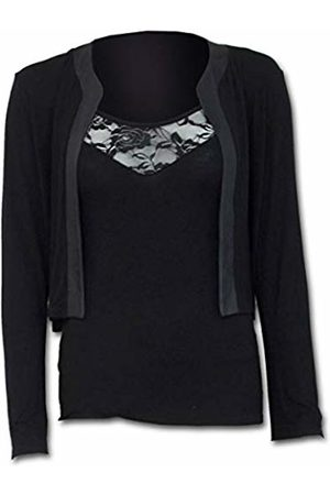 Spiral Direct Women's Gothic Elegance-2In1 Lace Vest Cardigan Long Sleeve Top, 001