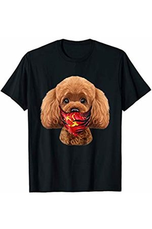 Fox Republic T-Shirts Playful Toy Poodle Dog in Soviet Union Bandana T-Shirt