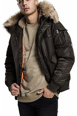 Urban classics Men's Hooded Heavy Fake Fur Bomber Jacket Grün (Darkolive 551)