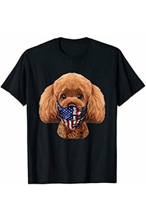 Fox Republic T-Shirts Playful Toy Poodle Dog in Flag of USA Bandana T-Shirt